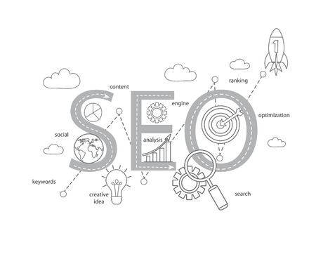 symbolized: Concept of SEO word combined from modern thin line elements and icons which symbolized a success internet searching optimization process. Vector illustration. Illustration
