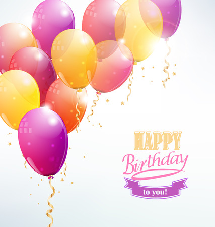 party streamers: vector balloons background with party streamers and beautiful confetti and the inscription Happy birthday to you