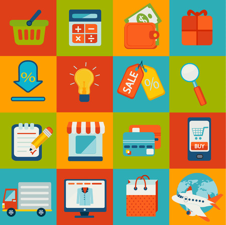 credit cart: Set of 16 flat design concept icons for online shopping.