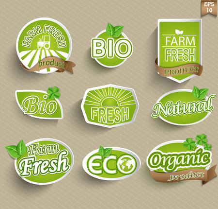 Natural organic product labels, emblems and badges. Set of design elements.
