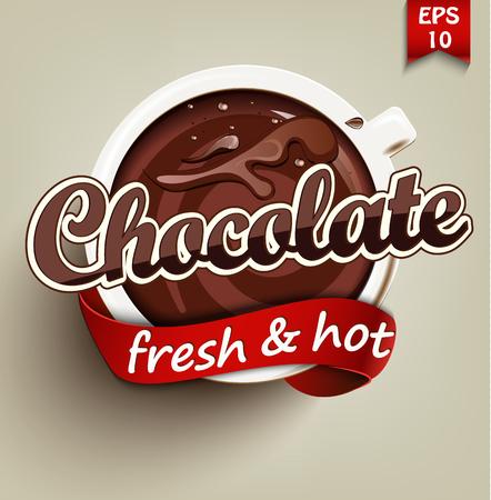 Poster met een kop warme chocolademelk. Vector