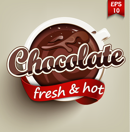 Poster with a hot chocolate cup. Vector Ilustracja