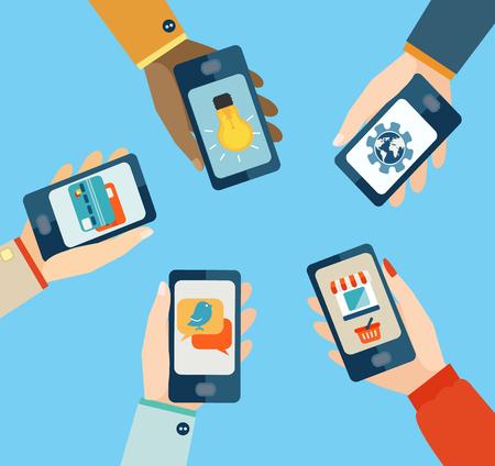 Set voor mobiele apps, Flatscreen ontwerp vector illustratie. Stock Illustratie