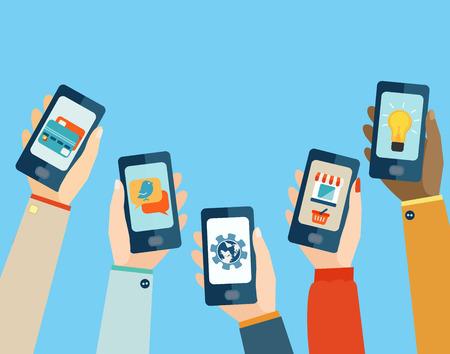medios de comunicaci�n social: Concepto para aplicaciones m�viles, dise�o de ilustraci�n vectorial plana. Vectores