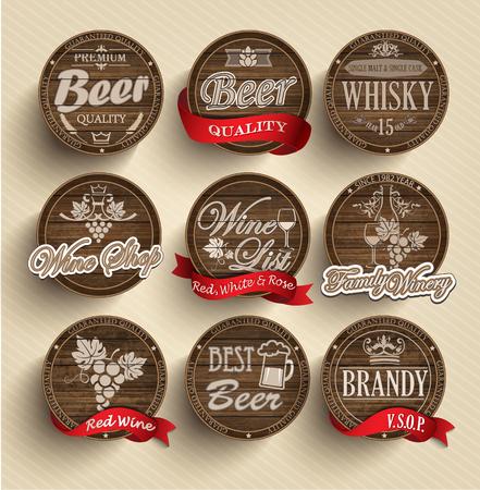 Set di botti di legno con bevande alcoliche emblemi - illustrazione vettoriale.