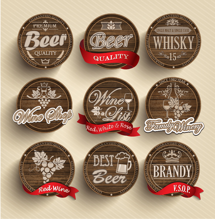 old sign: Set of wooden casks with alcohol drinks emblems - vector illustration.