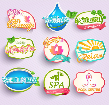 cosmetic products: Set of flat labels for beauty, spa and fashion Stock Photo
