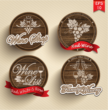 red circle: four labels for wine on wooden casks with red ribbons.