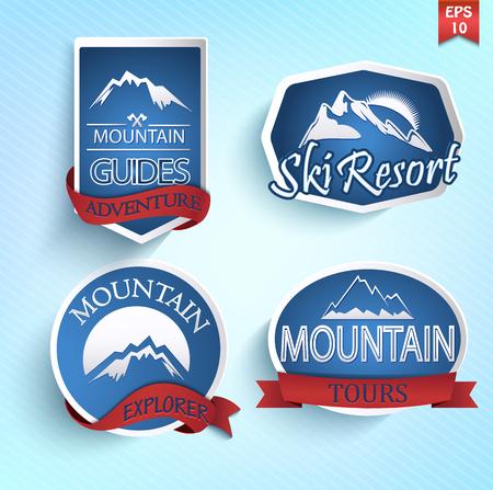 Conjunto de iconos de la montaña. Escalada y esquí de colección de etiquetas. Vector.