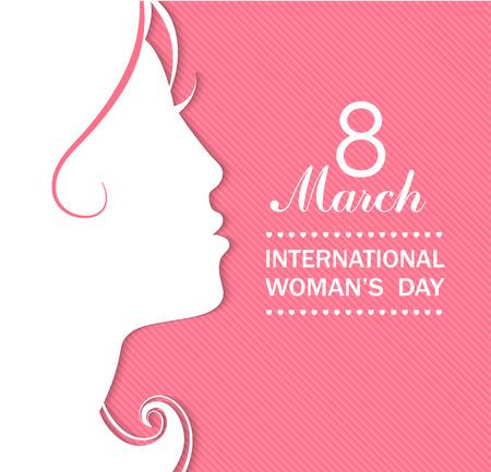 celebraciones concepto de día de la mujer feliz con una cara de niña en el fondo de color rosa. Ilustración del vector.