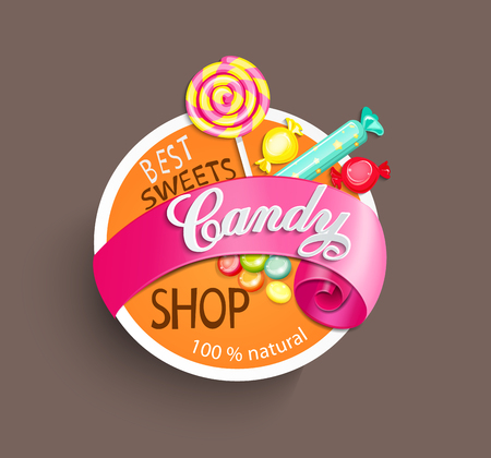caramel candy: Paper candy shop label with ribbon, vector illustration.