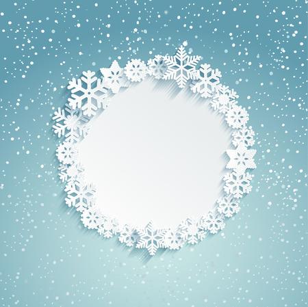 Circolare Telaio di Natale con i fiocchi di neve - modello per il messaggio. sfondo innevato. Illustrazione vettoriale.