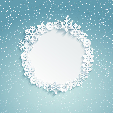 label frame: Circular Christmas frame with snowflakes - template for message. Snowy background. Vector illustration.