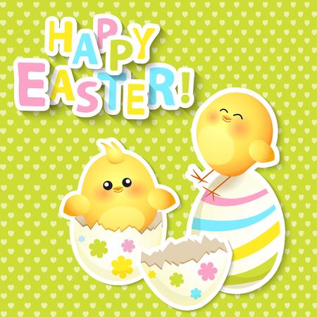 huevo caricatura: Tarjeta de felicitaci�n feliz de Pascua con la ilustraci�n chikken, vector.