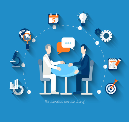 Flat design vector concepts for business, finance, strategic management, investment, natural resources, consulting, teamwork, great idea. Businessmen conduct negotiations at a table. Illusztráció