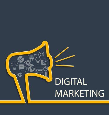 marketing concept: Digital marketing concept with inscription. Vector illustration.