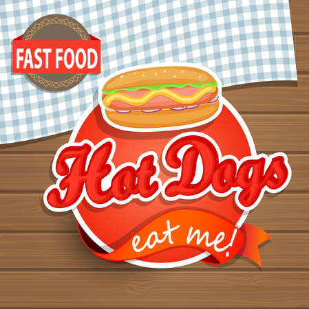 hot dog label: Hot Dog Label or Sticer on the wood background - Design Template. Vector illustration.