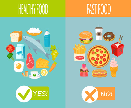 food: Healthy food and fast food, vector infographic. Illustration