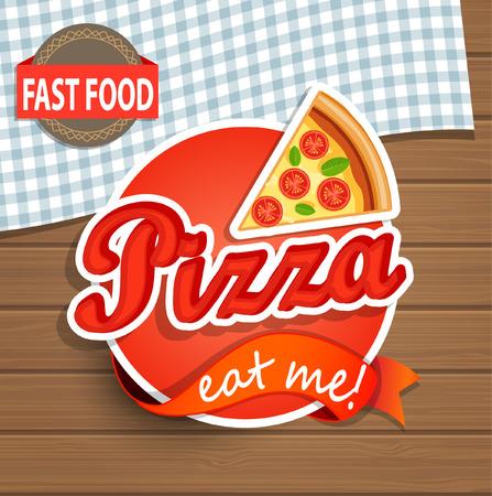 pizza: Etiqueta de pizza o Sticer en el fondo de madera - Plantilla de dise�o. Ilustraci�n del vector.