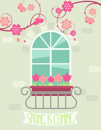 caligraphic: Spring is coming - vector illustration in flat style.