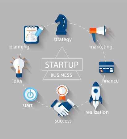 Koncepcja biznesowa wektorowa - uruchamianie elementów projektu infograficznego w płaskim stylu.