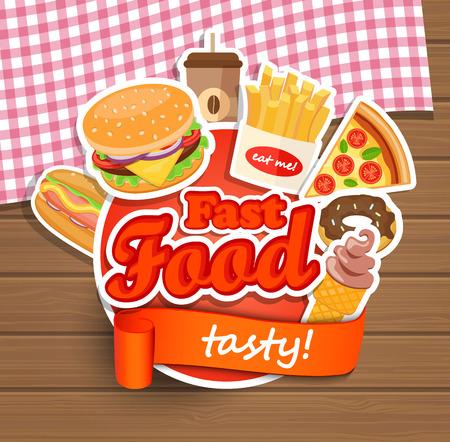 Fast food elementen, typografie ontwerp label of sticer - hamburgers, pizza, koffie, hotdog, ijs, donut, frietjes - Design Template. Vector illustratie. Stock Illustratie