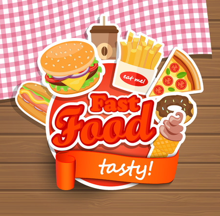 Fast food elements, Typographical Design Label or Sticer - burgers, pizza, coffee, hot dog, ice cream, doughnut, fries - Design Template. Vector illustration.