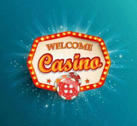 Brillant rétro cadre lumineux, illustration vectorielle sur un thème de casino avec affichage d'éclairage et texte de bienvenue sur fond bleu.