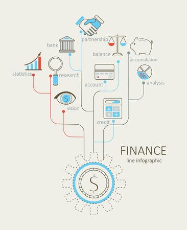 tree service business: Flat design modern vector illustration infographic outline Finance concept.