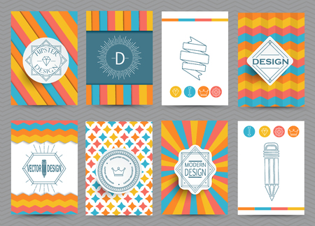 Set of Retro Insignias and Logotypes, brochures in vintage style. Vector.