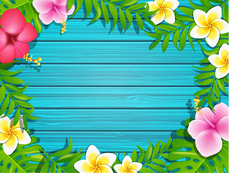Blue wooden background with tropical flowers and leafs, vector illustration.