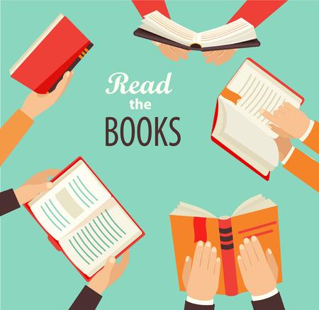 literatura: Vector conjunto de mano que sostiene los libros - iconos de estilo retro plana.