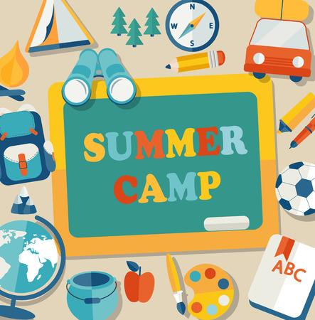 niños con lÁpices: Vacaciones de verano y viajes temáticos cartel campamento de verano en el estilo plano, ilustración vectorial.