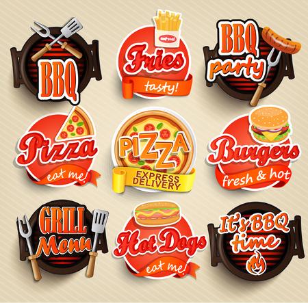 logos restaurantes: Los elementos de comida r�pida y barbacoa Grill, tipografia dise�o de la etiqueta o sticer - hamburguesas, pizza, hot dog, papas fritas - plantilla de dise�o. Ilustraci�n del vector. Vectores