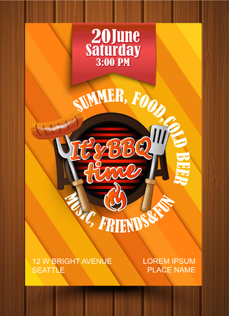 BBQ and Grill flyer and label. Vector illustration.