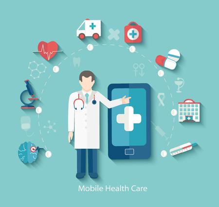 Conjunto de iconos del concepto de diseño planos para la web y el teléfono móvil. Concepto médico, infografía en estilo plano con el doctor, vector.