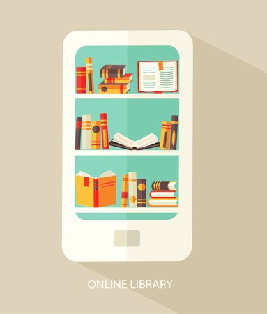 digital library: Flat design vector illustration concept for digital library, online book store, e-reading, vector.