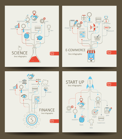 Vector flat linear Infographic startup, finance, e-commerce, science concept in flat style - signs and banner - new business. Outline concept.