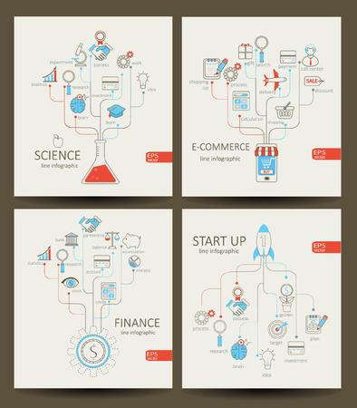 Vector platte lineaire Infographic opstarten, financiën, e-commerce, wetenschap concept in de vlakke stijl - tekenen en banner - new business. Outline concept.