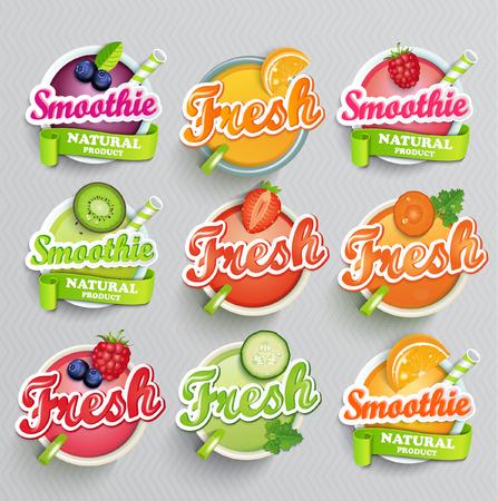 owoców: Zestaw sticers smoothie z wstążką i freshes grejpfrutowego i marchew, ogórek i maliny, jagody i truskawki, kiwi i pomarańczy, wapna. Wektor. Ilustracja