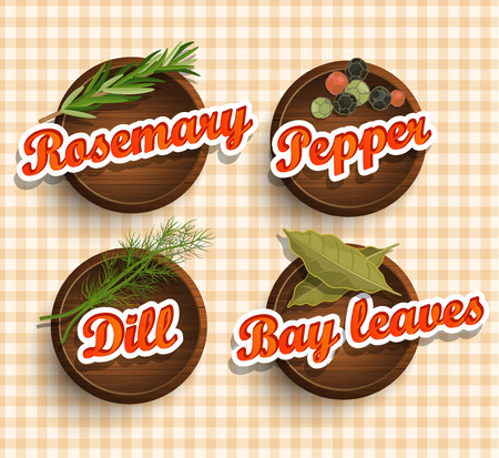 mustard seed: Stickers with wooden texture and names of spices.