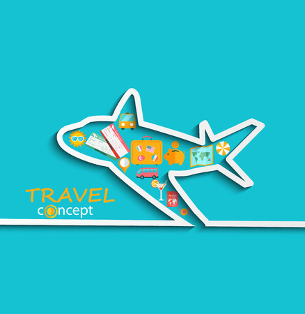 skyblue: Concept of the travel - path of the aircraft in paper style with shadow and with flat icons of a bright sky-blue background , vector.