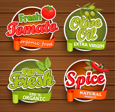 olive farm: Farm fresh, organic food label - olive oil, tomato, spice, badges or seals on the wooden background, vector illustration.
