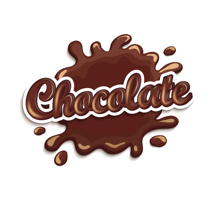 chocolate drops: Vector illustration of chocolate drops and blot with lettering . Sweet and stain and shape. Illustration