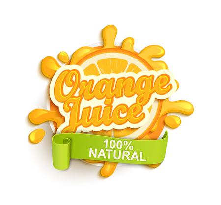 summer cartoon: Orange juice label splash. Blot and lettering with ribbon on white background. Splash and blot design, shape creative vector illustration. Illustration