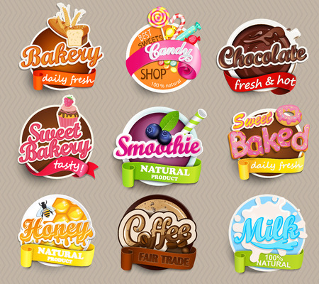 Set of stickers of food - farm fresh and pizza, fresh juice and grill, water, chocolate, coffee, smoothie, honey . Vector.