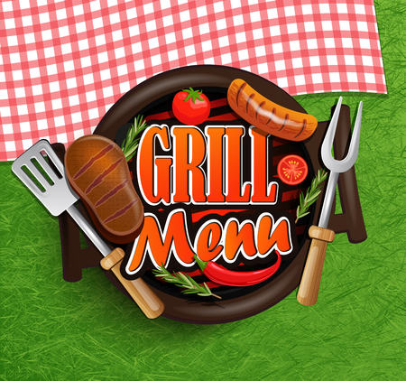 fourth birthday: BBQ Grill menu - Typographical Design Label or Sticer on the background of green grass and rustic tablecloths in red and white squares. Illustration