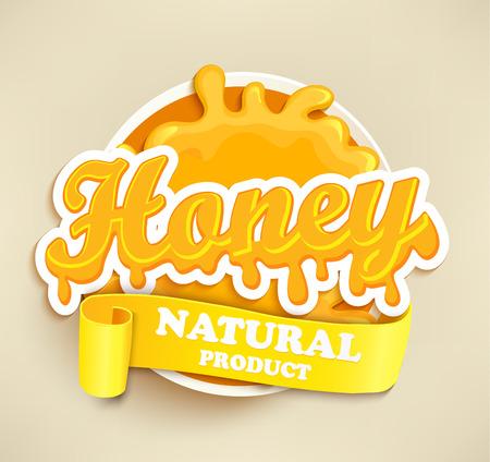 blot: Honey label splash. Blot and lettering on white background. Splash and blot design, shape creative.