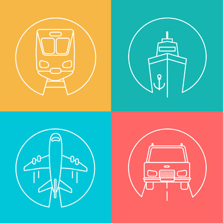 deliver: Freight business, express send and deliver autline logo, vector illustration. Flying airplane, Train,Ship and Car.