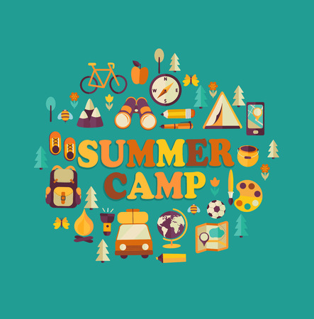 Vacances d'été et Voyage à thème affiche Camp d'été dans le style plat. Vecteurs